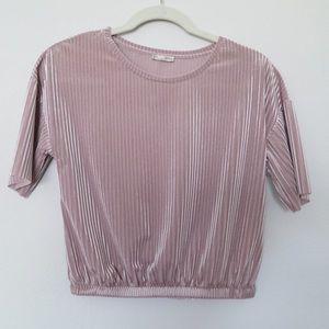 Zara cropped pleated velvet top